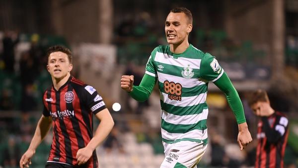 Graham Burke celebrates his spot kick going in