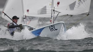 Finn Lynch competing in the Laser Men sailing class on Marina da Gloria in Rio de Janerio during the 2016 Olympics