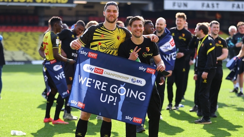 Francisco Sierralta and Kiko Femenia of Watford celebrate at the final whistle after being promoted