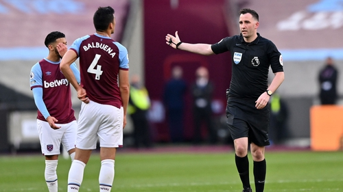 Fabian Balbuena was sent off after contentious VAR intervention