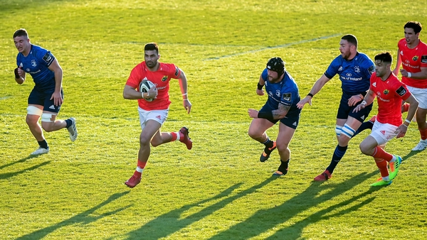 Damian de Allende makes a break on his way to setting up Conor Murray's first try