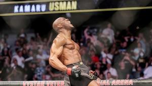 Kamaru Usman celebrates his victory over Jorge Masvidal