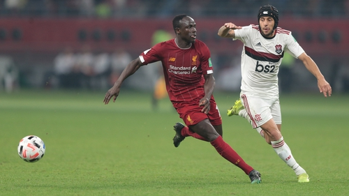 Liverpool's Sadio Mane in action against Rafinha of Flamengo during the 2019 Club World Cup final