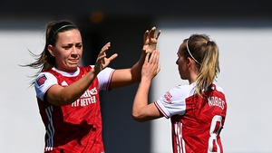 Ireland's Katie McCabe congratulates Jordan Nobbs after Arsenal's opening goal