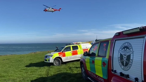 Rescue 117 in action at Rocky Bay where it winched six people to safety