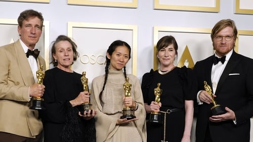 Peter Spears, Frances McDormand, Chloé Zhao, Mollye Asher and Dan Janvey, winners of Best Picture for Nomadland