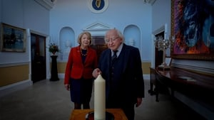 President Michael D Higgins and his wife Sabina light a candle to commemorate the 35th anniversary of the disaster (Pic: @PresidentIRL