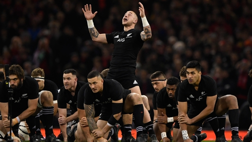 New Zealand perform the Haka before their match in Cardiff in 2017
