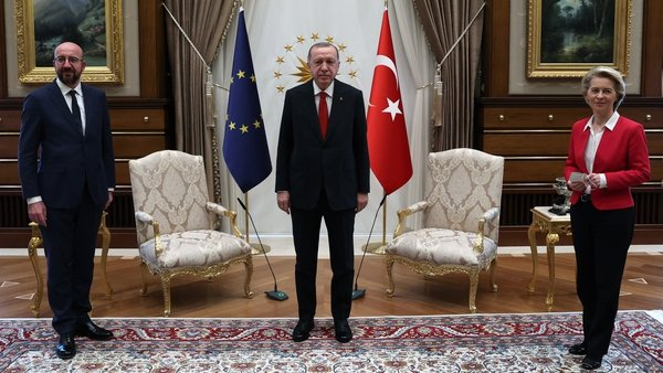 (L-R) EU Council President Charles Michel, Turkish President Recep Tayyip Erdogan and European Commission Ursula von der Leyen