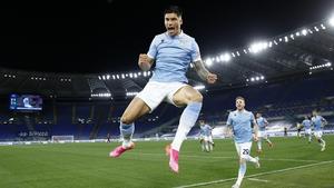 Joaquin Correa celebrates scoring against AC Milan