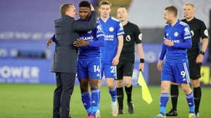 Brendan Rodgers congratulates match-winner Kelechi Iheanacho after the full-time whistle