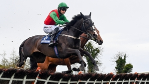 Echoes In Rain, with Patrick Mullins up, clears the last en route to winning the eCOMM Merchant Solutions Champion Novice Hurdle