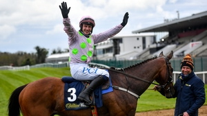 Paul Townend celebrates after winning on Chacun Pour Soi and extending his Champion Jockey lead to five
