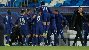 Chelsea players celebrate with goalscorer Christian Pulisic