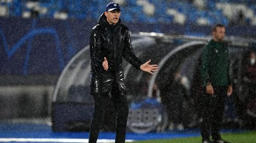 Thomas Tuchel on the sidelines at a rainy Madrid stadium
