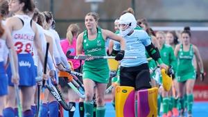 Katie Mullan leading the Irish team yesterday
