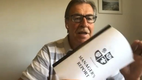 Donal Lenihan with his manager's report from the 2001 tour
