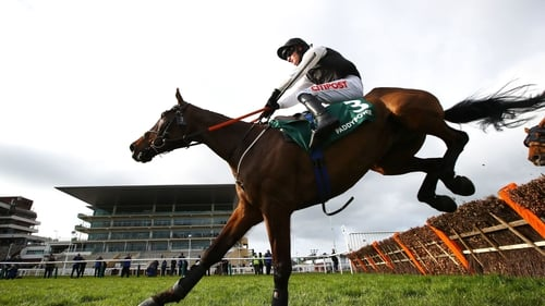 Flooring Porter on the way to victory in the Stayers Hurdle in Cheltenham