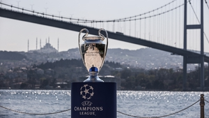 The Champions League trophy by the banks of the Bosporus