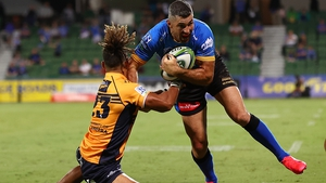 Rob Kearney fends off the challenge of Issak Fines-Leleiwasa during a clash with the Brumbies earlier this season