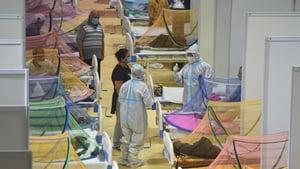A temporary Covid care centre at the Commonwealth Games Village in New Delhi