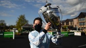Jockey Rachael Blackmore celebrates winning the Paddy Power Champion Hurdle on Honeysuckle