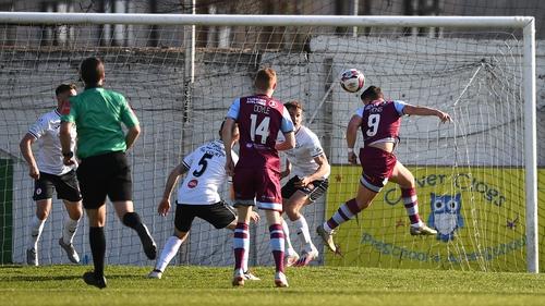 Chris Lyons heads home Drogheda's goal against Sligo Rovers