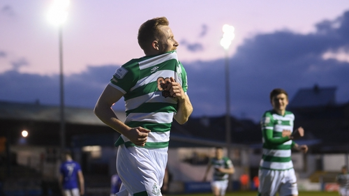 Sean Hoare celebrates after scoring his side's second goal