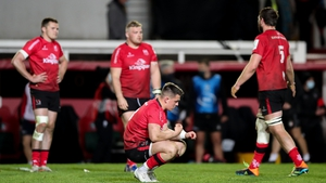 Ulster players react at the full-time whistle to the semi-final defeat
