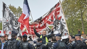 Trade unionists were joined by the 'Yellow Vest' movement during demonstrations in Paris