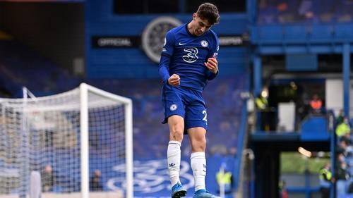 Havertz jumps for joy after scoring Chelsea's second