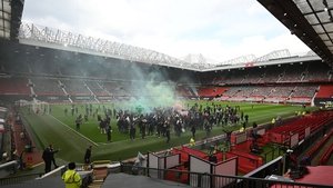 People gained access to the Old Trafford pitch