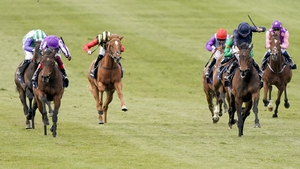 Frankie Dettori riding Mother Earth (purple silks on left) at Newmarket