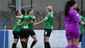 Ryan-Doyle (l) was among the goals for Peamount United