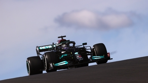Lewis Hamilton in his Mercedes en route to winning in Portugal