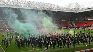 Supporters protest against Manchester United's owners, inside Old Trafford at the weekend