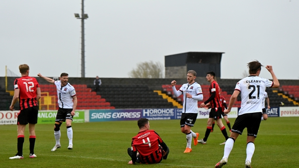 Daniel Cleary of Dundalk celebrates his side's first goal, scored by Junior Ogedi-Uzokwe