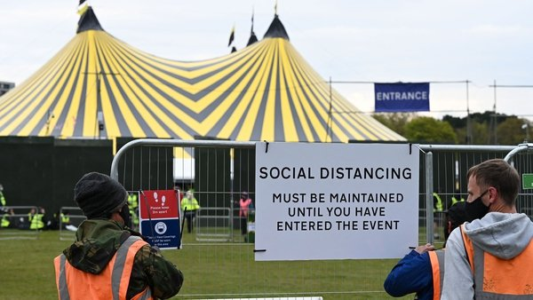 Over 5,000 people without masks or social distancing sang and danced at the Liverpool test event