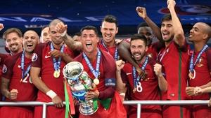 Cristiano Ronaldo celebrates Portugal's surprise win over France in 2016