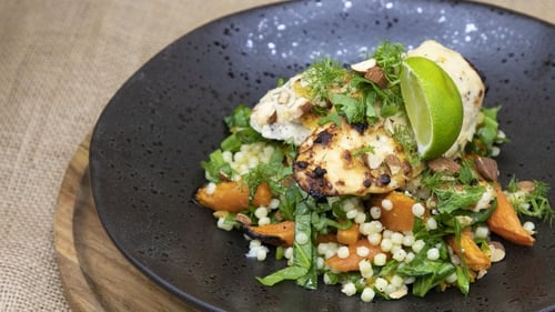 Chicken, roast carrot and fregola salad.
