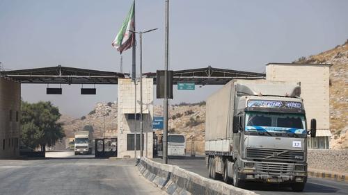 Simon Coveney said hundreds of trucks per day cross into Syria from Turkey at Bab al-Hawa