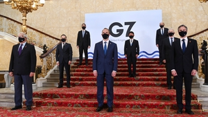 British Foreign Secretary Dominic Raab (C) hosts foreign ministers from the G7at Lancaster House in London