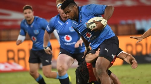 Lizo Gqoboka of the Bulls in action against the Lions