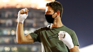 Romain Grosjean with bandaged hands at the Grand Prix of Sakhir in December