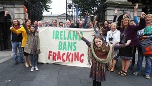 Anti-fracking protesters outside  Dáil Éireann in July 2017