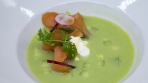 Mags Roches' chilled cucumber soup with Irish organic smoked salmon