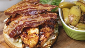 Wade Murphy's smoked maple glazed chicken burgers