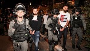 Israeli security forces detaining Palestinian protesters in the Sheikh Jarrah neighbourhood of east Jerusalem