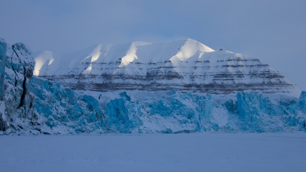 The edge of Tunabreen glacier meets a frozen sea surface, Svalbard pic: Noel Fitzpatrick