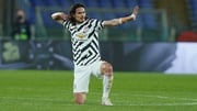 Edinson Cavani celebrates completing a brace in the Eternal City